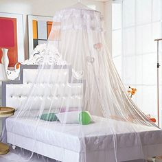 Topixdeals New Elegant Round Lace Curtain Dome Bed Canopy Netting Mosquito Net (White) >>> Want to know more, click on the image.