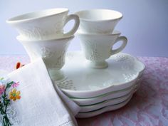 Vintage Harvest Milk Glass by Colony Snack Set by mymilkglassshop