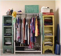 Clothes Storage Solved by 17 Ingenious Low-Cost DIY Closets Swiftly Small Space Organization, Closet Organization, Organization Ideas, Clothing Organization, Clothes Storage Ideas For Small Spaces, Small Closet Space, Tiny Closet, Clever Closet, Open Closets