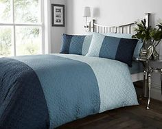 BLUE NAVY TEAL COLOUR MODERN STYLISH QUILTED PATTERN DUVET QUILT COVER SET