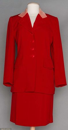 Hermes Red Gabardine Suit, 1990s, Augusta Auctions, November 11, 2015 NYC