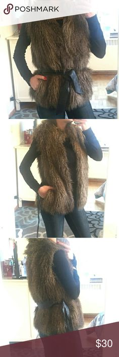 H&M -- Faux Fur vest #Reposh. True to size,  but too big on me ( was just hoping I could make it work -- it's stunning)  See 4th pic , shows wear on belt ( can not be seen when worn  OR vest can be worn without) H&M Tops