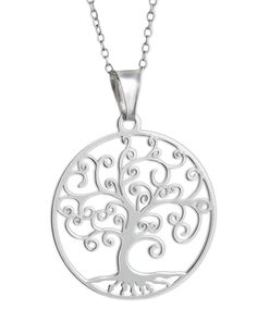 925 Sterling Silver Laser Cut Filigree Celtic Tree of Life Pendant Necklace, 18 inch chain