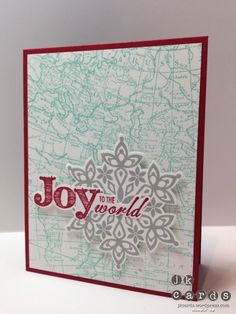 Card Stock: Cherry Cobbler and Whisper White Ink: Costal Cabana, Smoky Slate and Cherry Cobbler Classic Stampin' Ink Stamp Sets: Joy to the World, Festive Flurry and World Map Background Clear Mount Framelits: Festive Flurry