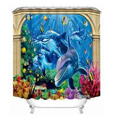 The Adorable Dolphins Print 3D Bathroom Shower Curtain #bath #shower #curtain