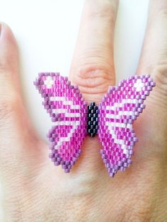 Beaded butterfly ring butterfly ring peyote ring Delica Miyuki seed bead ring statement ring pink butterfly ring teenage girl gift by LindenHand Brick Stitch Earrings, Seed Bead Earrings, Seed Beads, Beaded Jewelry Patterns, Beading Patterns, Beaded Angels, Angel Decor, Nana Gifts, Butterflies