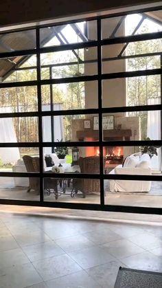 Side Porch, House Goals, Home Decor Kitchen, Backyard Ideas, Backyard Landscaping, Glass Door, French Doors, Garage Doors, New Homes