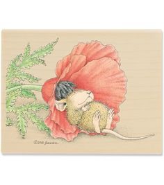"""House Mouse Mounted Rubber Stamp 3""""X4""""-Poppy Cat"""