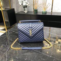 Ysl Saint Laurent college medium chain shoulder bag navy blue gold Blue Gold, Navy Blue, Saint Laurent Bag, Chain Shoulder Bag, Ysl, Saints, College, Medium, Bags