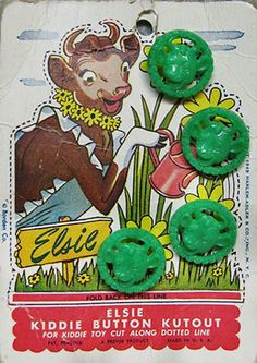 Rare to find on original card ~ Elsie the Cow vintage buttons.