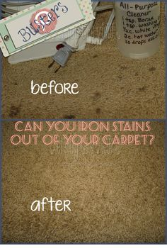 {enjoy the view}: Pin Busters! Iron Out Carpet Stains - true or false? Yes, you can! Totally Pin-worthy!