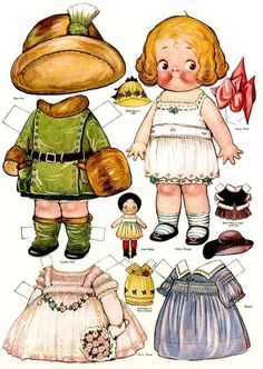 cute paper doll with clothes ...