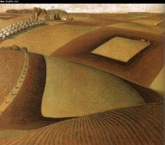 Happy birthday to Grant Wood Here you see a great example of Wood's interest in, and importance to, the Regionalism art movement. What other painting garnered Wood success as a cultural. Grant Wood Paintings, Paintings I Love, Painting On Wood, Wood Artwork, Iowa, Grant Wood American Gothic, Artist Grants, Painted Picture Frames, Oil Painting Pictures
