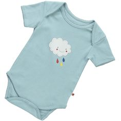 Comfortably soft, short-sleeved body by Piccalilly featuring a screen printed cloud and raindrops.