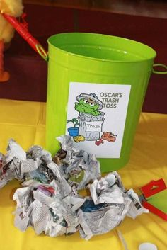 Trash game at a Sesame Street Party #sesamestreet #party