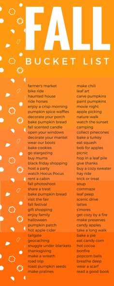 OMG! I LOVE Fall and this list is EVERYTHING. I can't wait to DO IT ALL!!