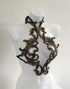 Baroque, Chest Piece, Fantasy Armor, Gold Filigree, Fantasy Makeup, Character Outfits, Arabesque, Fantasy Costumes, Costume Design