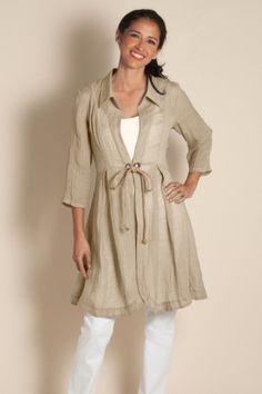 Gilet Gauze Topper - Crinkled Linen Longer Length Top, Tops | Soft Surroundings
