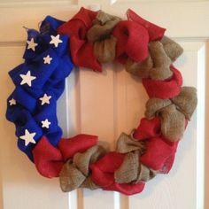 Patriotic Burlap American Flag Wreath by DoorsGaloreAndMore