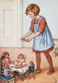 The Dolls' Tea Party. Illustration by Cicely Mary Barker. Cicely Mary Barker, Old Children's Books, Vintage Children's Books, Vintage Art, Vintage Jewelry, Images Vintage, Vintage Pictures, Flower Fairies, Little Doll