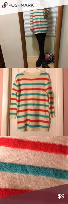 90's Oversized Sweater It is pretty long. The first picture is not mine. The sleeves are short. It can be worn as a dress! Can fit sizes (XS) extra small through (L) large. This is from Japan! Sweaters Crew & Scoop Necks