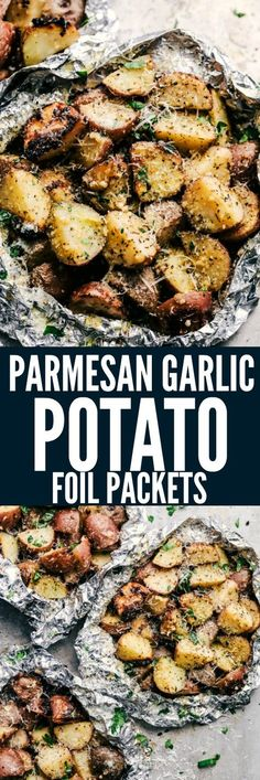 Parmesan Garlic Potato Foil Packets are potatoes that get cooked to tender perfection and have the best parmesan garlic flavor! These make an amazing side dish to any meal! Not on the grill but in oven. Foil Packet Dinners, Foil Pack Meals, Foil Dinners, Grilled Side Dishes, Side Dishes For Bbq, Camping Side Dishes, Greek Side Dishes, Grilling Recipes, Cooking Recipes