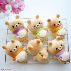 Kawaii dessert - Rilakkumar bread by 0819 Bread japonaise Rilakkumar Cute Snacks, Cute Desserts, Cute Food, Yummy Food, Kawaii Dessert, Japan Dessert, Cute Baking, Bread Art, Unicorn Foods