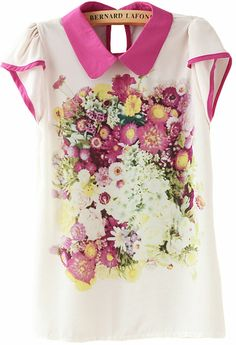 White Contrast Rose Red Collar Floral Chiffon Blouse US$23.44
