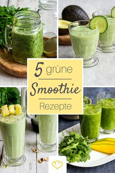 Für den Energiekick: grüne Smoothies aus Gemüse, Kräutern und Obst. Randvoll mit…