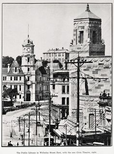 Bill ✔️ Auckland Public Library in Wellesley St East, with Civic Theatre on right. It opened in so I imagine this photo is soon after. New Zealand. Civic Theatre, Auckland New Zealand, Palace, Taj Mahal, The Neighbourhood, Cinema, History, Architecture, Caption