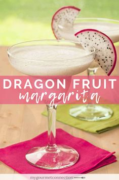 This tasty, tropical margarita is made with dragon fruit, an exotic cactus fruit that has a texture like kiwi and a mild, melon-like flavor that blends nicely with the tequila and fresh lime. Recipes Using Dragon Fruit, Fruit Recipes, Cooking Recipes, Purple Cocktails, Classic Cocktails, Cocktail And Mocktail, Cocktail Recipes, Cocktail Ideas, Fruit Ice Cubes