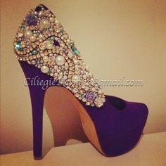 Swaroski Rhinestones Pearls Bridal, Proms, Sweet 16, Club, or just because Beautiful Pumps Heels Custom Shoes. $299.00, via Etsy.