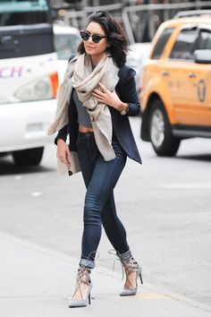 Vanessa Hudgens looks so cute in this outfit!  Love the blanket scarf and lace up heels combo. #winter #fashion #streetstyle