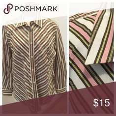 Jones of New York signature Jones of New York Signature Shirt. Brown and Pink stripe. Long Sleeve with Cuff. Great Shirt very versatile. Size: XL Jones New York Tops Button Down Shirts