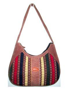 4c921988b1 Unique MEDA Guatemala Genuine Brown Suede Leather   Multi color TAPESTRY  handbag