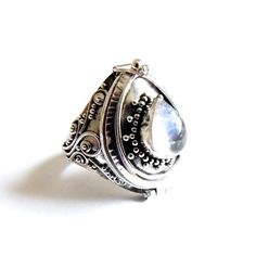 Beautiful sterling silver Moonstone poison box rings are now back in stock at www.emptycasket.co.uk