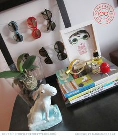 DIY Sunglass Display @Lovely Clusters - Rachel Follett