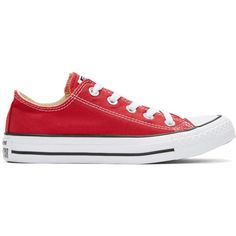 Converse Red Classic Chuck Taylor All Star OX Sneakers ($48) ❤ liked on Polyvore featuring shoes, sneakers, red, low top canvas sneakers, lace up sneakers, striped sneakers, red canvas sneakers and canvas lace up sneakers