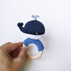 Crochet Whale, Crochet Baby Toys, Crochet Bebe, Cotton Crochet, Baby Boy Gifts, Gifts For Boys, Crochet Ring Patterns, Teething Toys, Wal