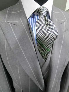 I love grey suit & tie with the unexpected blue striped shirt.