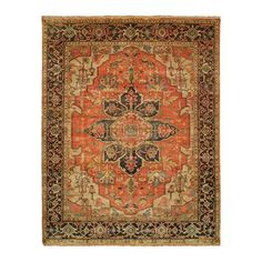 Shalom Brothers JS-454 Jules Serapi Area Rug, Antique Wash Finish  Stately and luxurious, the Jules Serapi features dramatic geometric patterns true to
