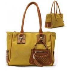Metal Studs, Wood, Tassel Charm Purse and Bag / Handbag/ Yellow/ Rch21514yew,$39.99