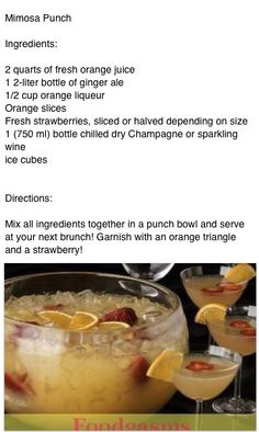 Mimosa punch - Very good! Put it in the freezer and made slush with the left overs!