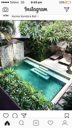Salt water pool? Tropical Pool, Tropical Garden, Garden Pool, Japanese Mansion, Small Pools, Courtyard Pool, Swimming Pool Designs, Arquitetura E Design, Swiming Pool