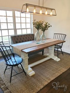 Farmhouse table plans & ideas find and save about dining room tables . See more ideas about Farmhouse kitchen plans, farmhouse table and DIY dining table Farmhouse Table Centerpieces, Diy Dining Table, Diy Farmhouse Table, Pedestal Dining Table, Farmhouse Chic, Kitchen Tables, Centerpiece Ideas, Pedistal Table, Chunky Dining Table