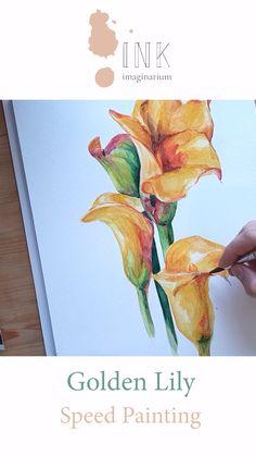 Watercolor Art Lessons, Watercolor Video, Watercolor Landscape Paintings, Watercolour Tutorials, Watercolor Sketch, Abstract Watercolor, Watercolor Flowers, Tulip Painting, Flower Canvas