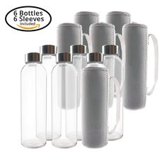 53a9ff8879271b Amazon   (6-Pack) Glass Water Bottles 18oz with Stainless Steel Cap and 6  Nylon Protection Sleeve Just  10.17 W Code (Reg    16.95) (As of 7 4 2018  5.04 PM ...