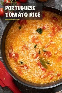 Deliciously packed with flavor, Arroz de Tomate is ready for serving in thirty minutes. Easy-peasy preparation, try this traditional Portuguese dish for tomorrow night! You will not regret it! Portuguese Rice, Portuguese Recipes, Soup Recipes, Vegetarian Recipes, Cooking Recipes, Vegan Meals, Rice Recipes, Dinner Recipes, Side Dishes
