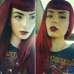 dark red hair color, vintage, bangs