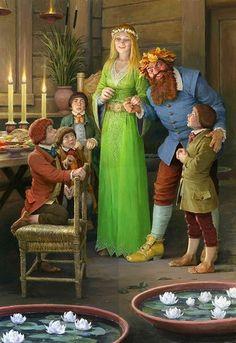 Tom Bombadil y Baya de Oro con los Hobbits Jrr Tolkien, Fellowship Of The Ring, Lord Of The Rings, Narnia, Lotr, Concerning Hobbits, O Hobbit, Thranduil, Gandalf